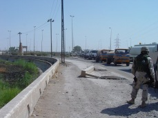 Prior to the Marines' assault on Fallujah in November 2004, we conducted a campaign against Samarra in October. A shaping operation, the intent was to disrupt insurgent networks prior to the battle in Fallujah, while denying sanctuary to insurgents who would attempt to escape Fallujah. Here a column of fuel tankers awaits entry into Samarra. We did a massive Phase IV post combat reconstruction effort in Samarra intended to connect the local people to their government and convince to support us and not the insurgents. It didn't work.